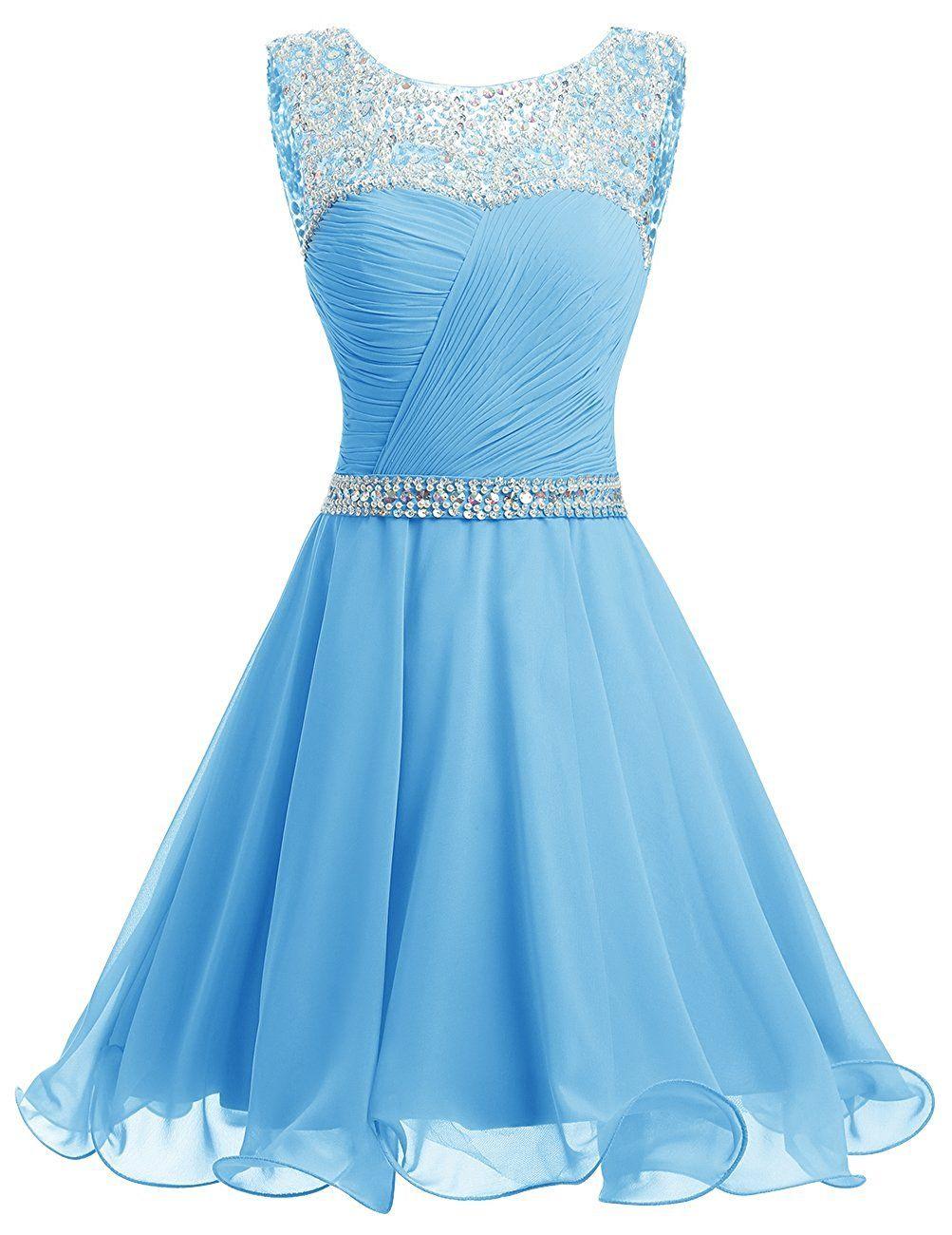 713bbc7a520 Dresstells® Short Chiffon Open Back Prom Dress With Beading Homecoming Dress:  Amazon.co.uk: Clothing