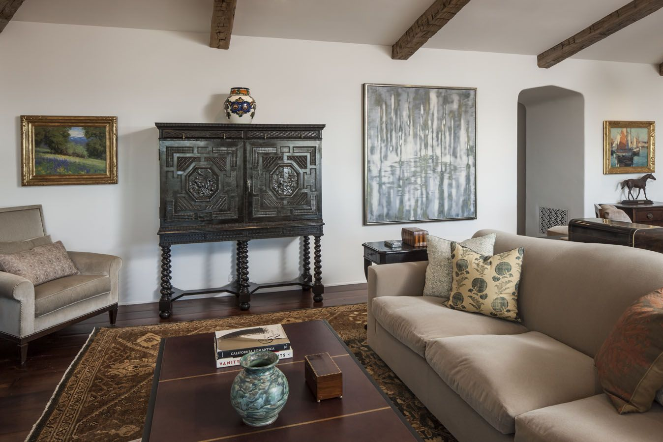 Manhattan Beach Great-room with a mix of fine art, creates an eclectic vibe.