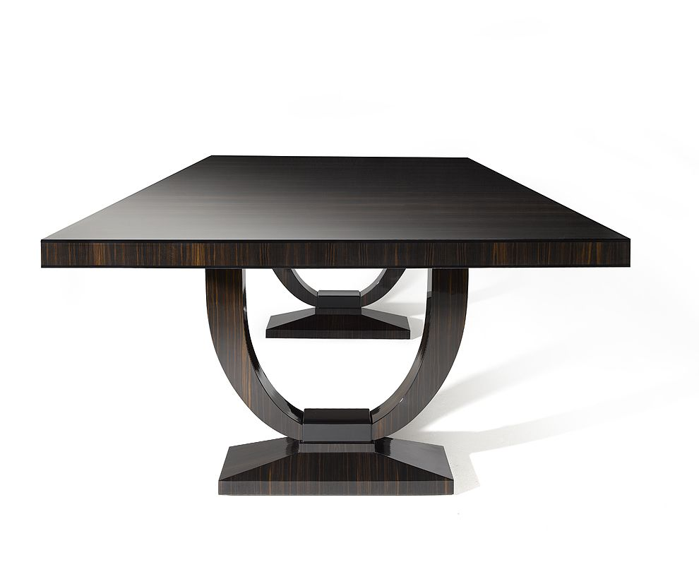 Grace Dining Table Finished In High Gloss Macassar Ebony With