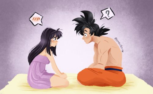 The moment when Chi-Chi explain to Goku what to do on their wedding ...