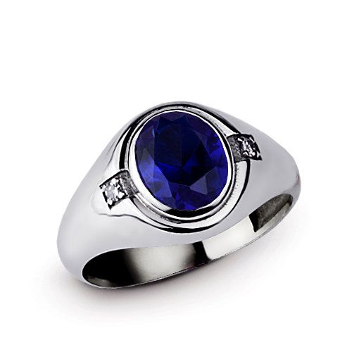 925 Sterling Silver Statement Ring Blue Sapphire And Diamond Ring Blue Stone Ring Gemstone Ring