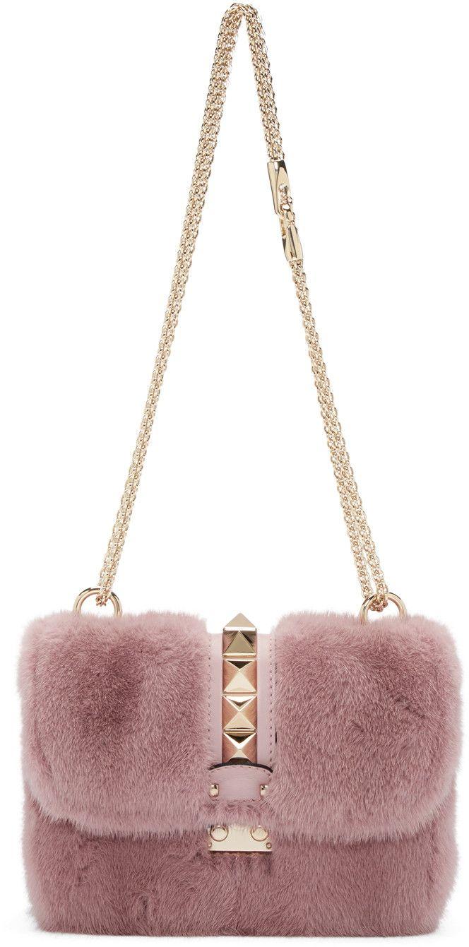 d810dfe6b4 VALENTINO Pink Fur Small Lock Shoulder Bag.  valentino  bags  shoulder bags   lining  fur