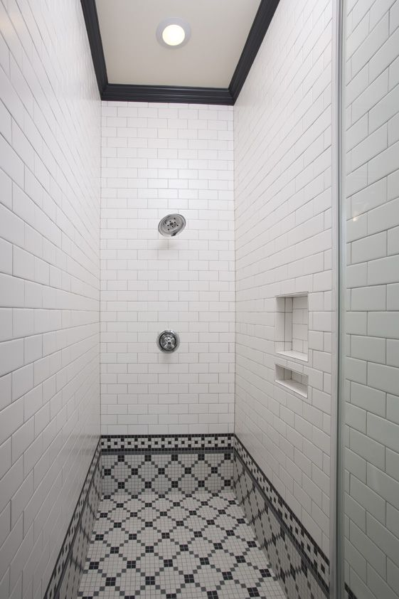 Shower Scape | Clean white brick-jointed subway tiles with ...