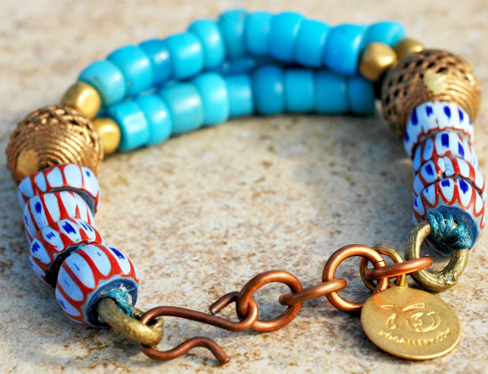 Bakim-Mutum Bracelet: African-Inspired Glass Trade Bead and Brass Bracelet