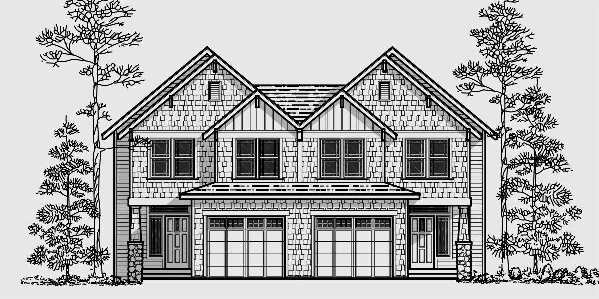 House front color elevation view for d 427 craftsman duplex house plans luxury duplex