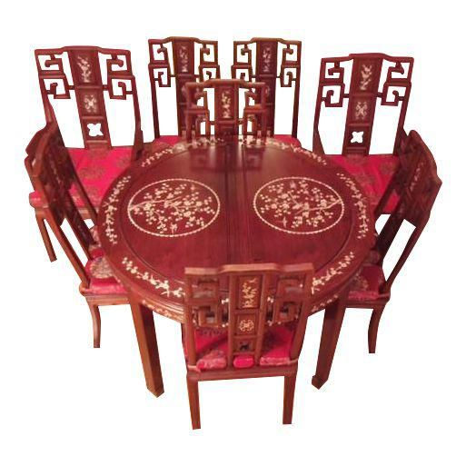 Vintage Chinese Rosewood Dining Table Chairs Hong Kong