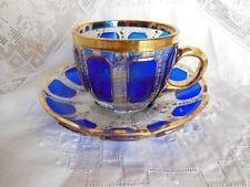 Azul Cobalto E Ouro De Corte Para boêmia Moser Transparent Xícara E Pires ex.cond.
