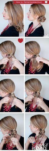 Step by step herringbone or fishtail braid # fishtail Braids short hair