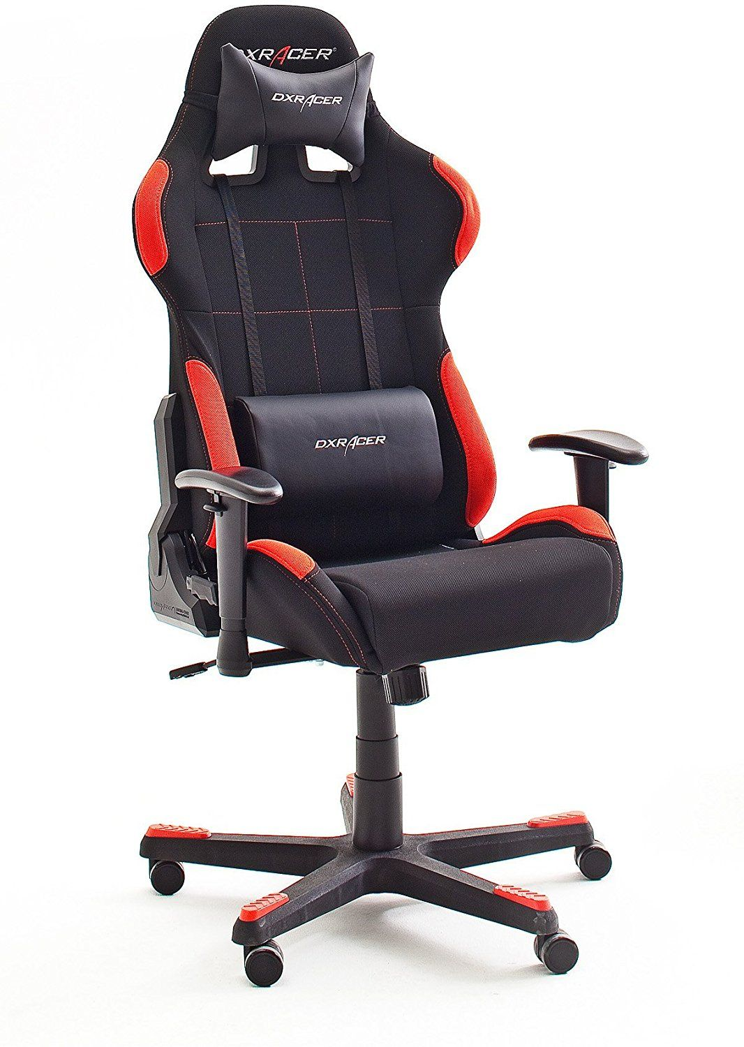 Dx Gaming Chair Desk Ballard Design Racer1 Office Computer Executive With Armrests Frame Nylon 78 X 124 134 52 Cm Fabric Black Red