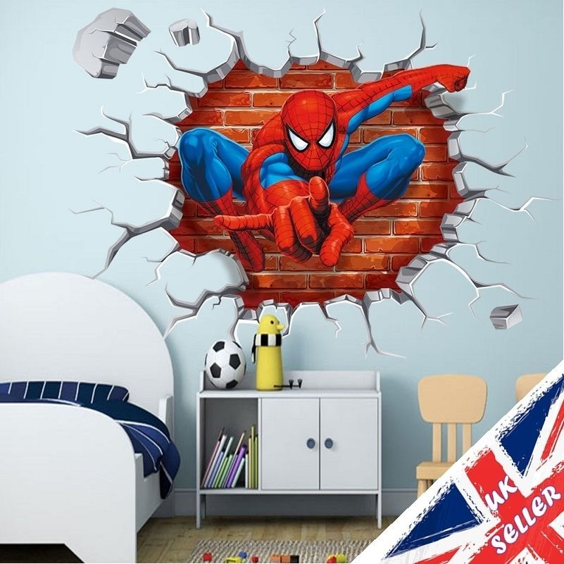 3d Spiderman Wall Stickers Avengers Marvel Superhero 3D Crack Vinyl Decal  Boys
