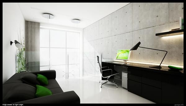 calming wall covering in black accented minimalist home office