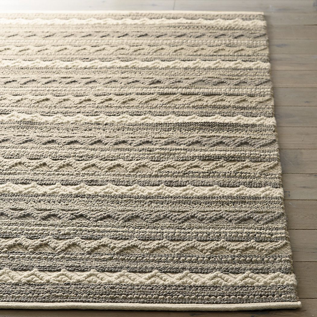 Mallory Neutral Striped Wool Rug Crate And Barrel