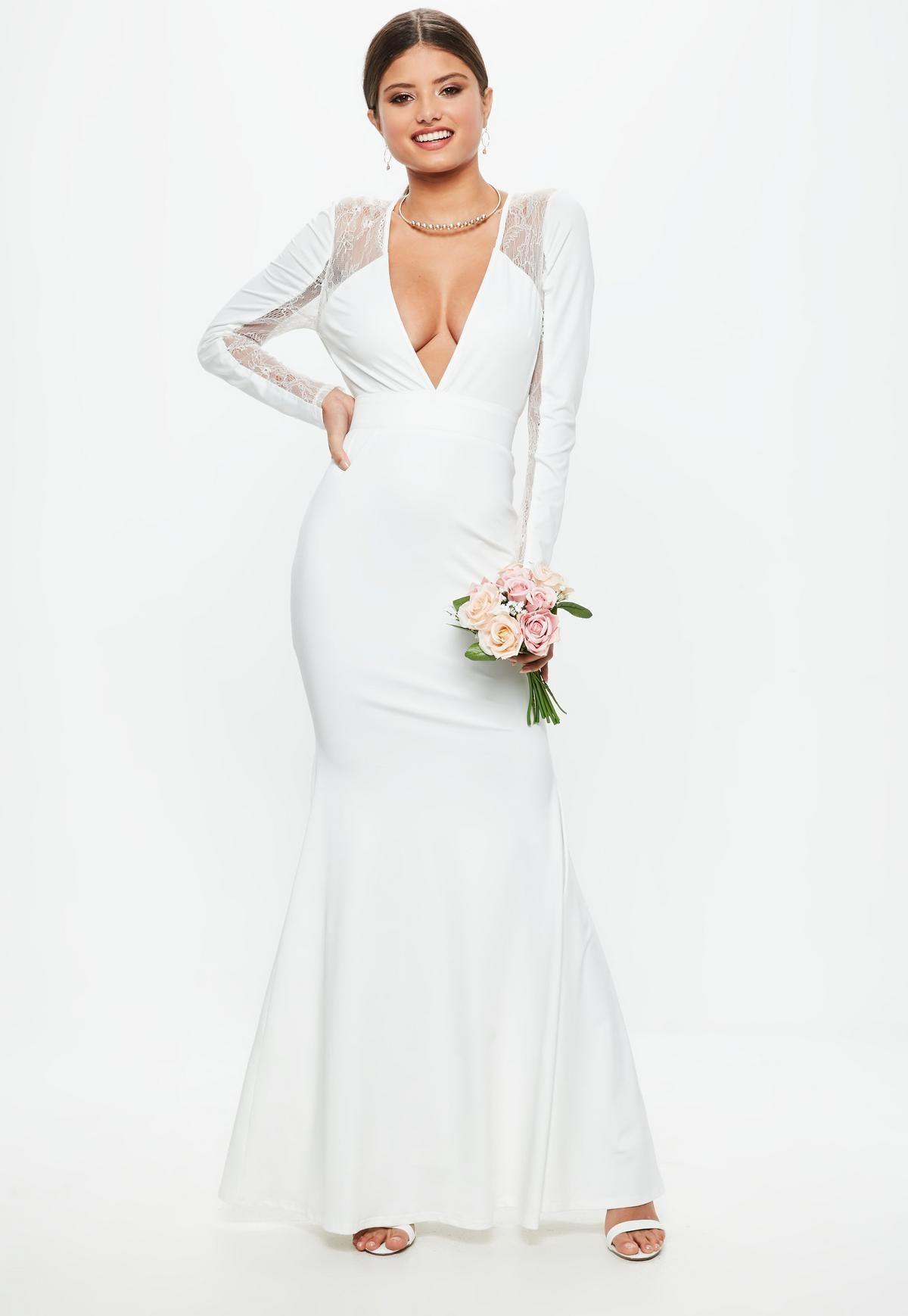 Bridal White Long Sleeve Plunge Open Back Lace Insert Maxi Dress Missguided Formal Dresses Short Tight Dresses Trending Dresses [ 1738 x 1200 Pixel ]