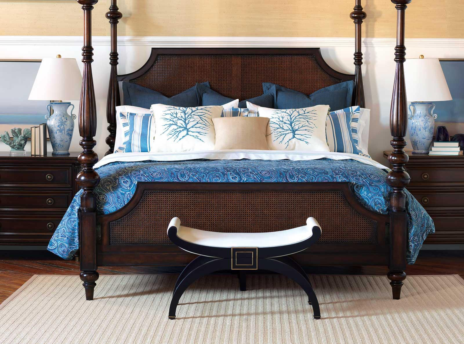 Nautical Bedroom With Wooden Bed Frame Blue And White Bed Double