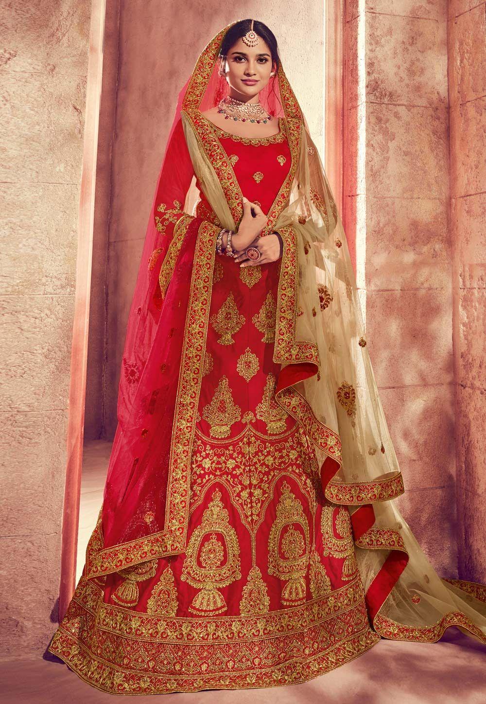 af0f32c710 Buy Red Art Silk Bridal Lehenga Choli 162343 online at best price from vast  collection of Lehenga Choli and Chaniya Choli at Indianclothstore.com.