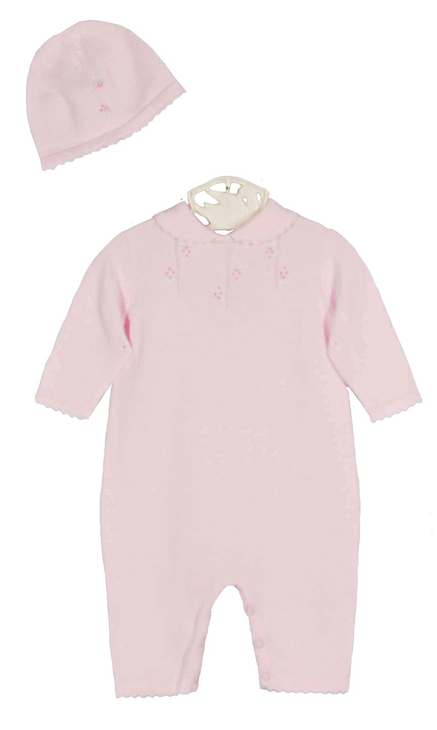 d8a2bd6031ab NEW Renzo Pink Cotton Knit Romper and Hat Set with Pink Embroidered ...