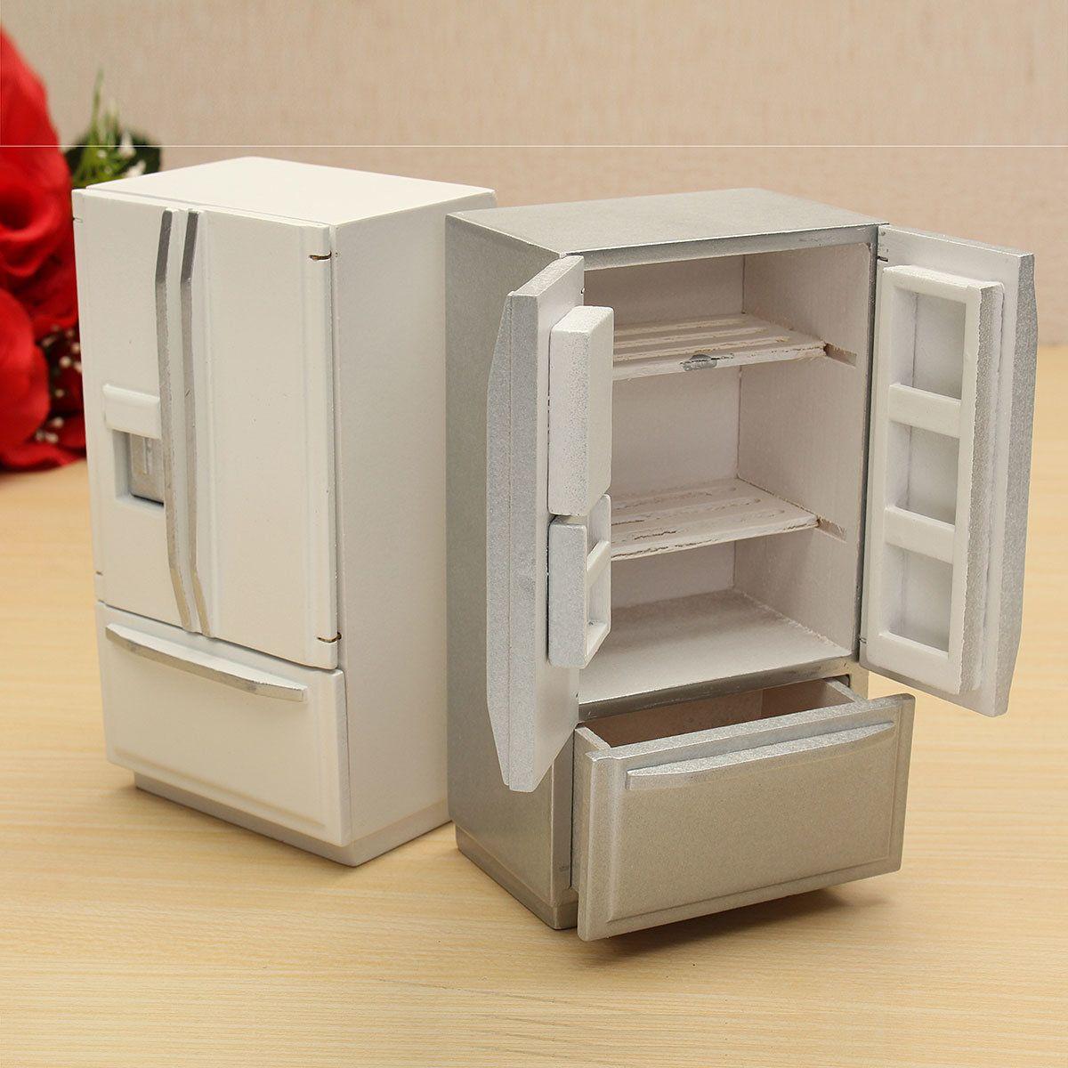 $7.99  1:12 Wooden Dollhouse Miniature Furniture Kitchen Fridge Refrigerator Sale - Banggood.com #miniaturefurniture