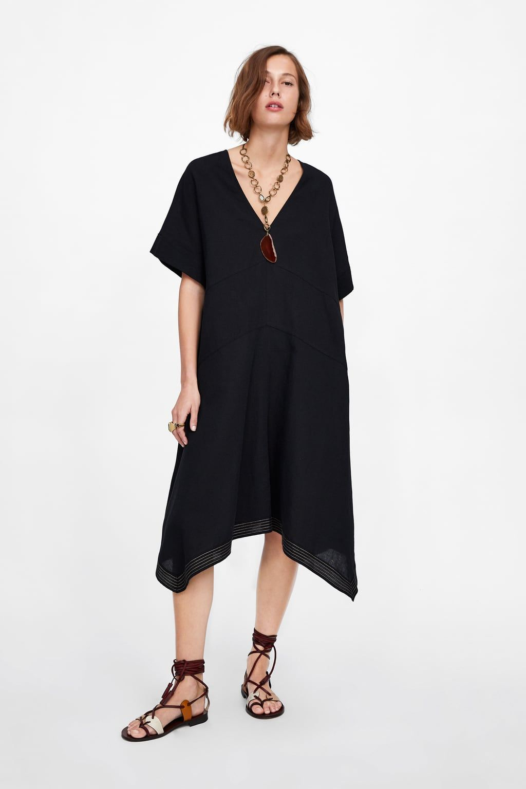 affe95a2 OVERSIZED DRESS WITH CONTRASTING PIPING - View all-DRESSES-WOMAN   ZARA  United States