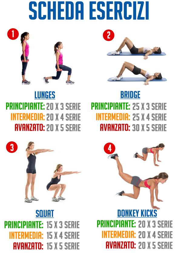 Scheda esercizi glutei leg workout pinterest remise for Interno coscia a corpo libero