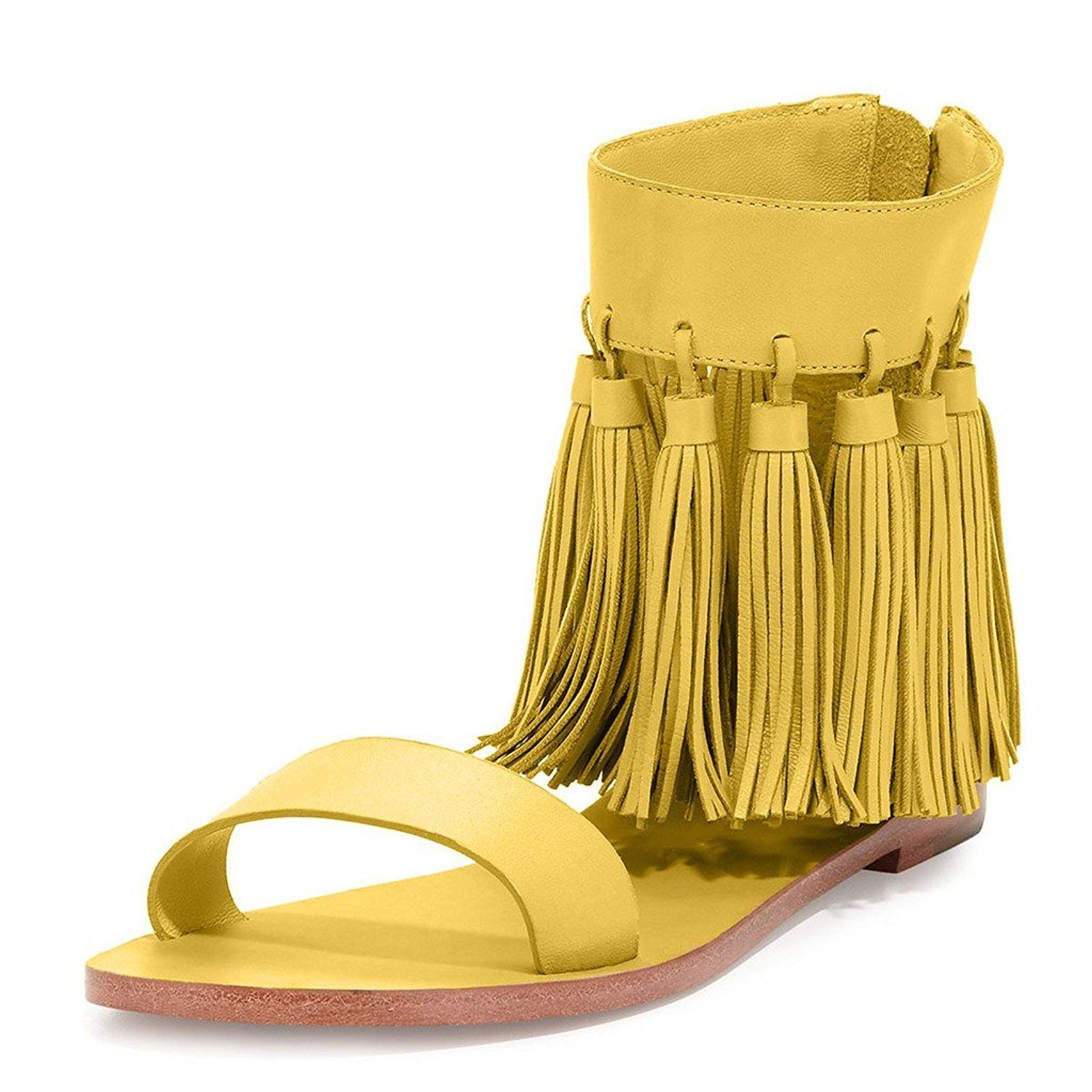 140761edd19 YDN Women Fringes Flats Tassels Open Toe Sandals Low-Heel Back Zipper Shoes      Find out more details by clicking the image - Lace up sandals
