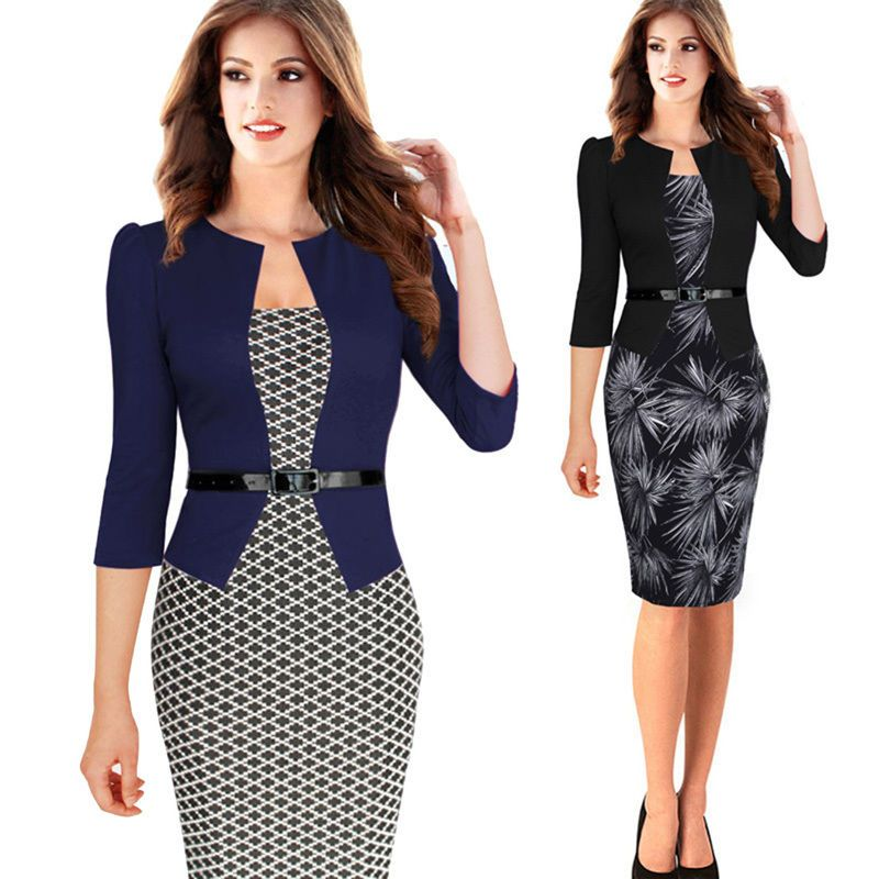 Sexy OL Work Womens Slim 3 4 Sleeve Bodycon Pencil Suit Outfit Cocktail  Dresses c291aafe7c3a
