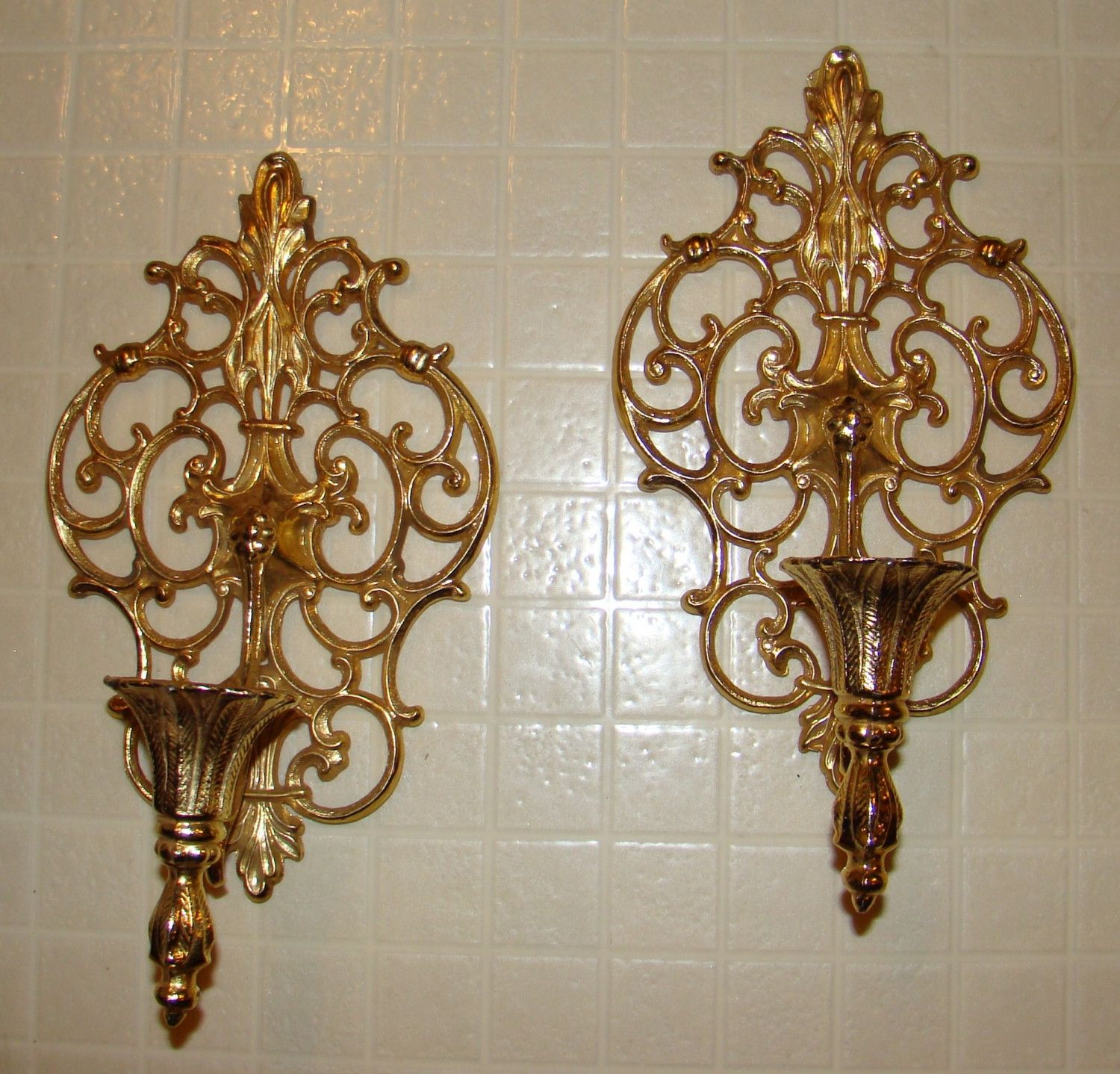 Candle wrought iron wall decorations gold candle sconces in pair for inspiring home lighting ideas or amipublicfo Images
