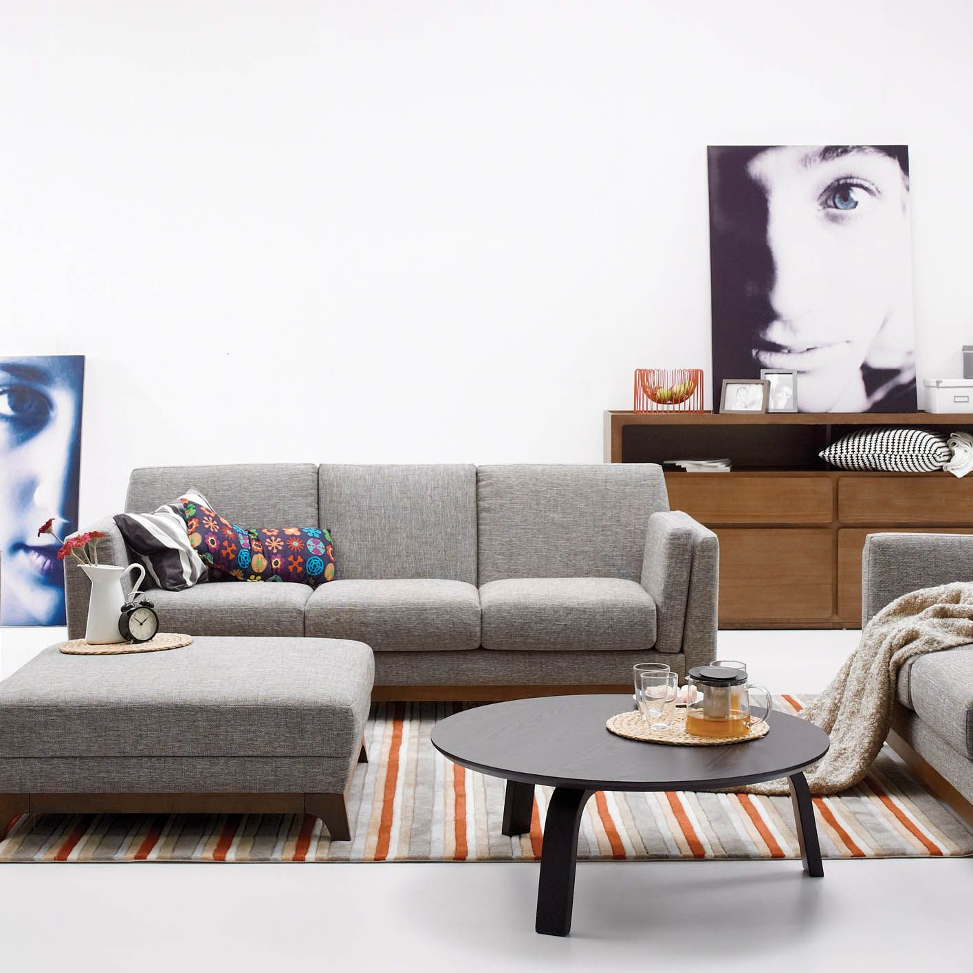 Gray Sofa 3 Seater With Solid Wood Legs | Article Ceni Modern ...