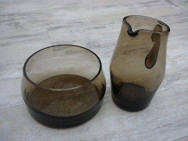VTG smoked glass milk jug & sugar bowl 60s 70s