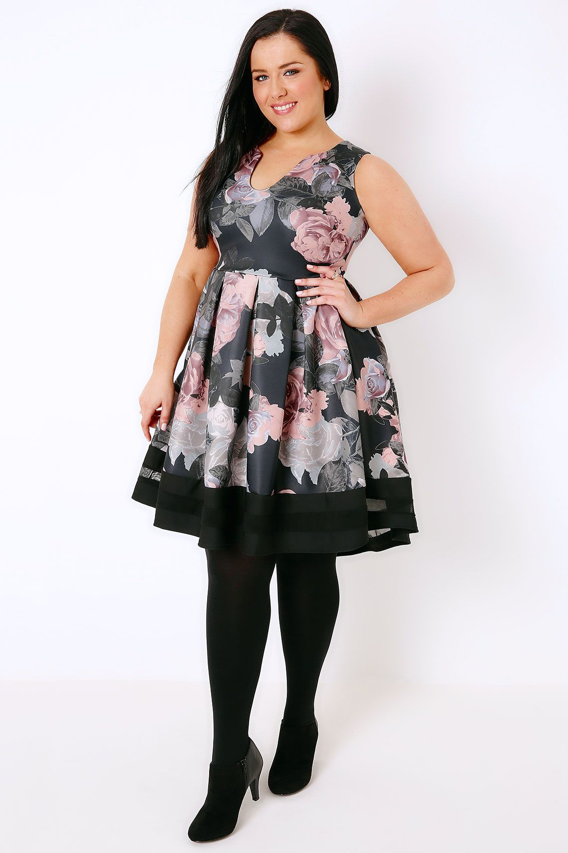 Black   Multi Floral Print Skater Dress With Notch Neck   Mesh Panel ... f4d4a2bd9