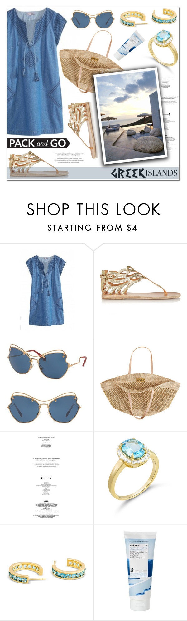 """Pack and Go: Greek Islands"" by blossom-jewels ❤ liked on Polyvore featuring Ancient Greek Sandals, Miu Miu, Flora Bella, Korres, contestentry, Packandgo, greekislands and Blossomjewels"