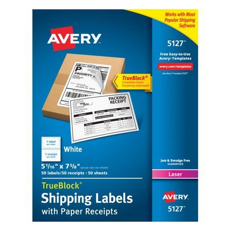 Avery Shipping Labels With Receipt 5 1 16 X 7 5 8 50 Labels 5127 Walmart Com Avery Shipping Labels Shipping Labels Label Paper