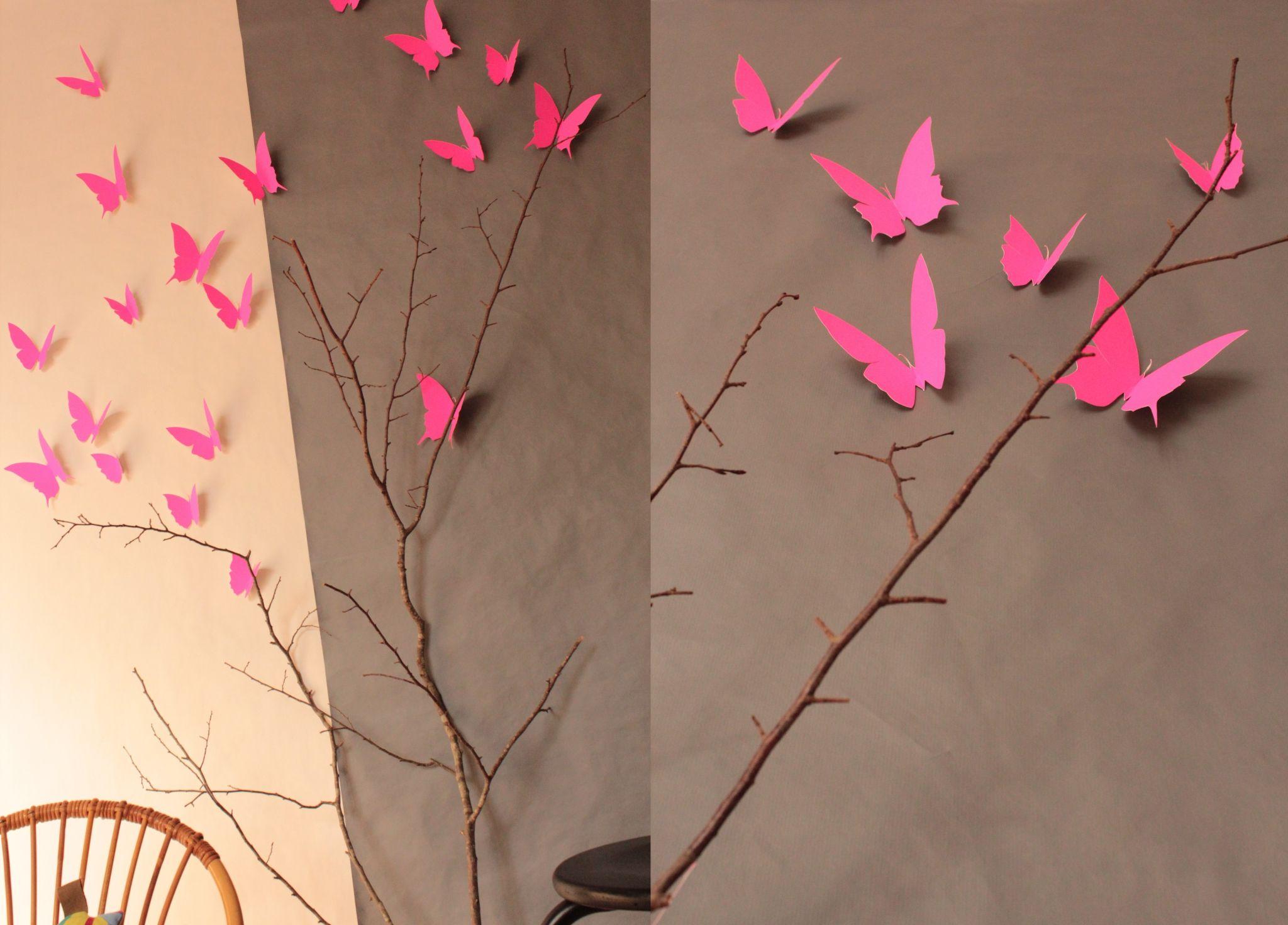 chambre rose fluo | décoration murale papier envolée de papillons ...