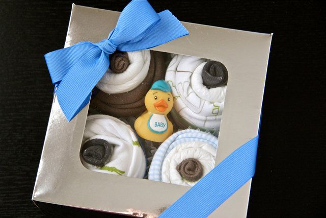 Diaper Cupcakes Baby Shower Gift - for a boy