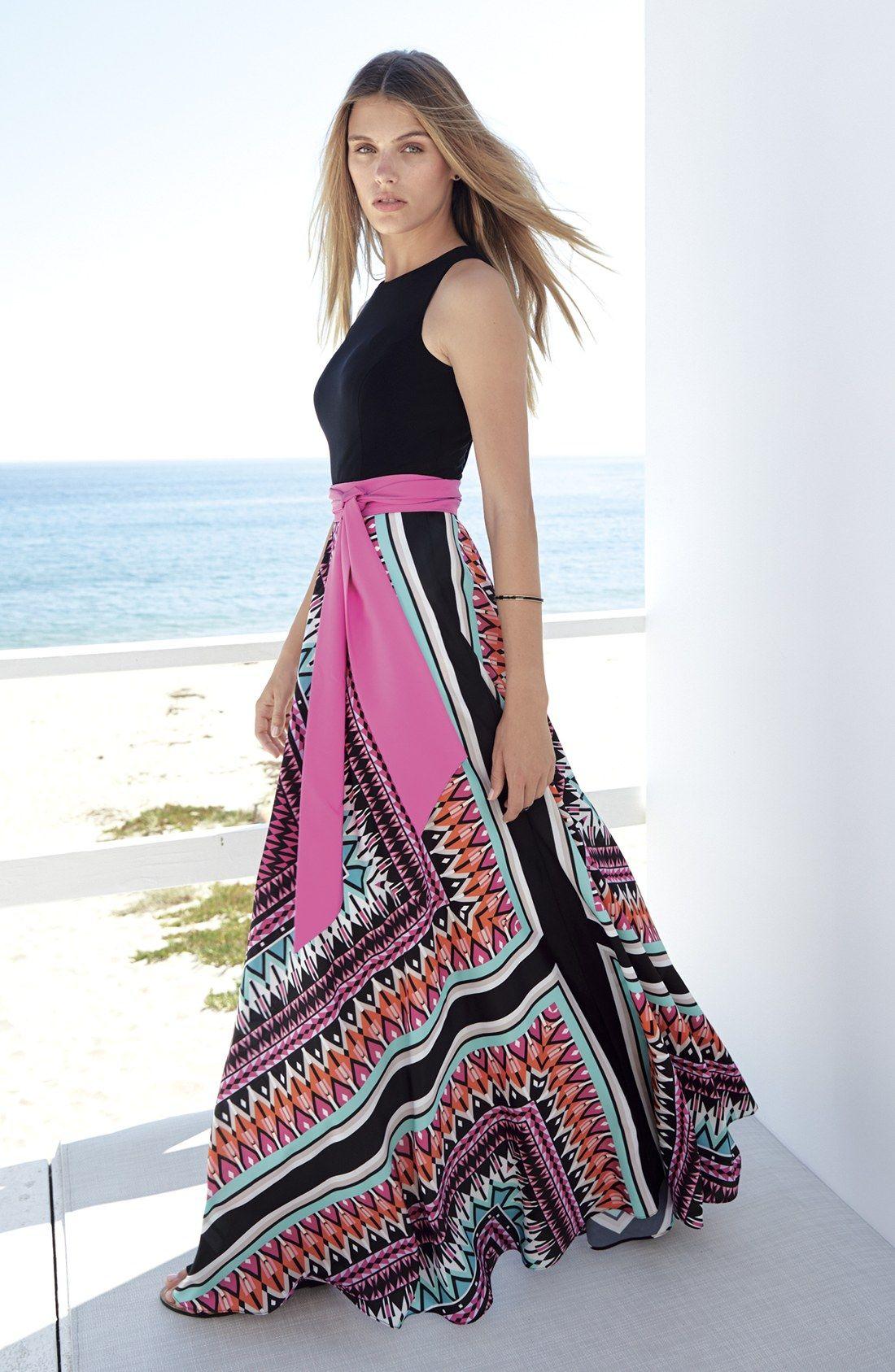 eb1dafefbb53c Eliza J Jersey & Crêpe de Chine Maxi Dress (Regular & Petite ...