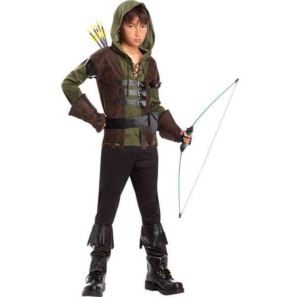 Sherwood Forest Hood Archer Medieval Hero Warrior Costume Mens Fancy Dress S-XXL
