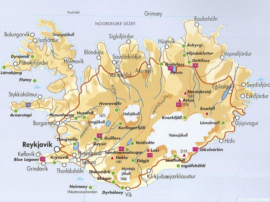 Kaart Ijsland Ijsland Scandinavie Vakantie