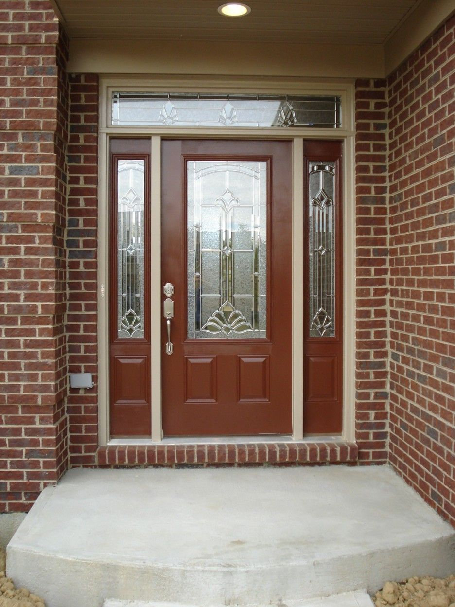 Frosted glass front door - Exterior Dark Brown Wood And Frosted Glass Doors Connected By Twin Glass Windows With Brown