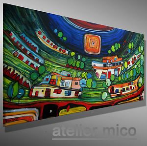 details zu mico original acrylbild handgemalt gem lde kunst bilder abstrakt malerei acryl. Black Bedroom Furniture Sets. Home Design Ideas