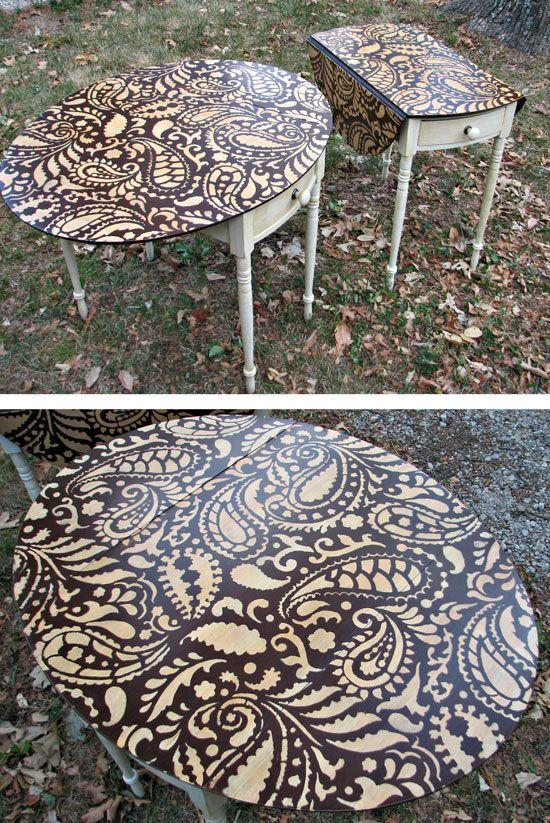 Diy Painted Stencil Bathroom Floor: Painting Ideas With Stencils: DIY Paisley Tabletop