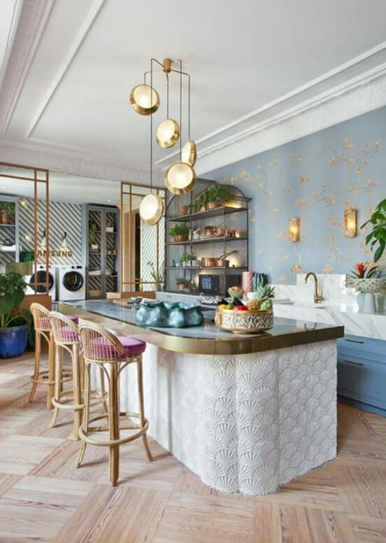 70s feel kitchen island rattan barstools and a cluster of disc pendant lights   70s feel kitchen island rattan barstools and a cluster of disc pendant lights