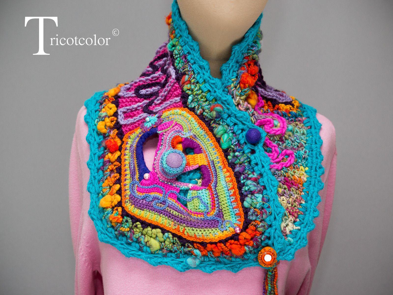 echarpe femme tricot crochet main laine multicolore et laine fil e plan te solaire echarpe. Black Bedroom Furniture Sets. Home Design Ideas