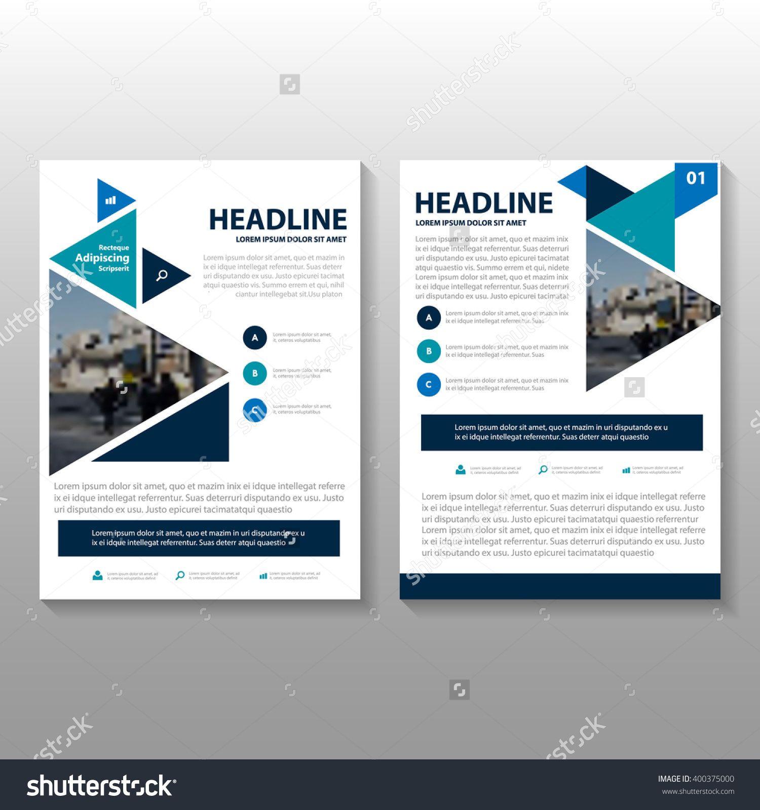 Triangle Blue Green Vector Leaflet Brochure Flyer Template Design ...