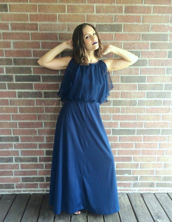 vtg 70s NAVY BLUE Grecian Goddess Maxi DRESS Medium draped