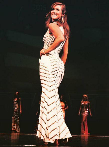 f72b148fe1d72 Fan Photo | Krista rocking our Jovani Ivory & Gold Studded Gown. Jovani  9420 Photo Credit: JW Burns