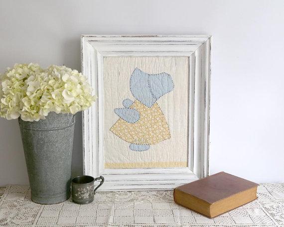 Sun Bonnet Sue Framed Quilt Piece, Vintage Sun Bonnet Sue Quilt, Country Farmhouse Decor, Blue Yellow White Quilt Decor, Nursery Decor #sunbonnetsue