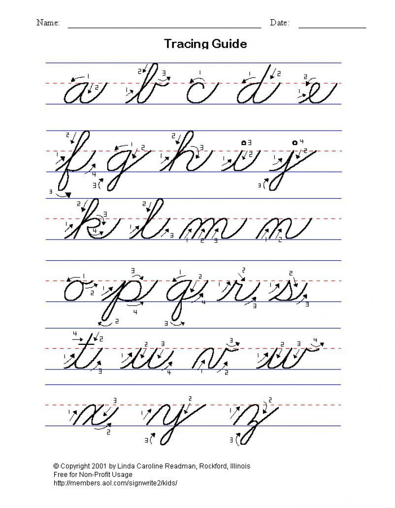 practice cursive writing, full alphabet lower and upper case ...