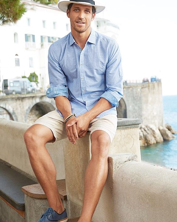 OOTD: Khaki colored shorts paired with a sky blue button down ...