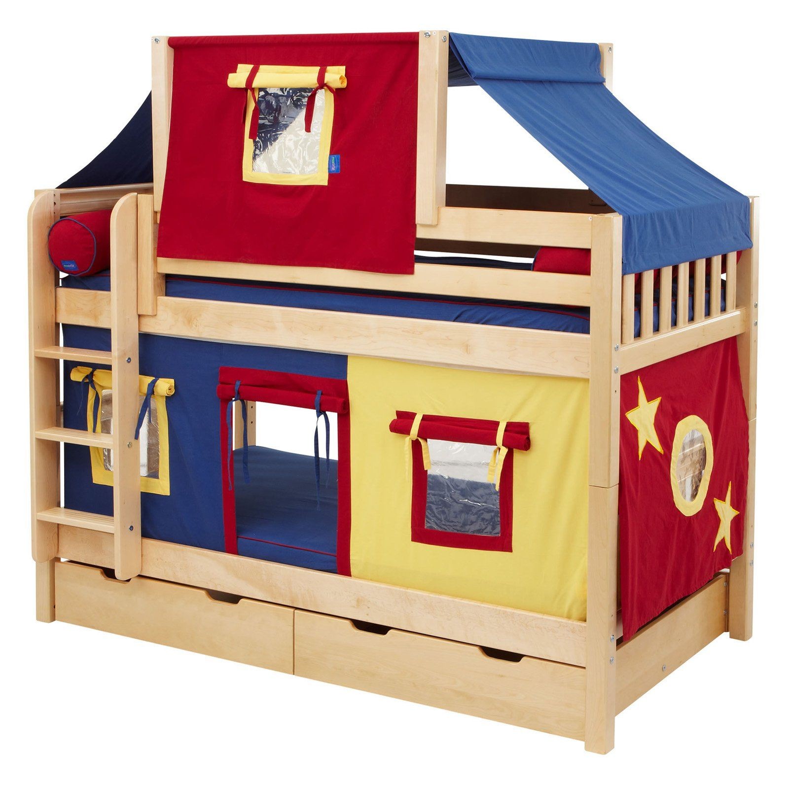 Twin low loft bed with slide  Hot Shot Boy Twin over Twin Deluxe Tent Bunk Bed  from hayneedle