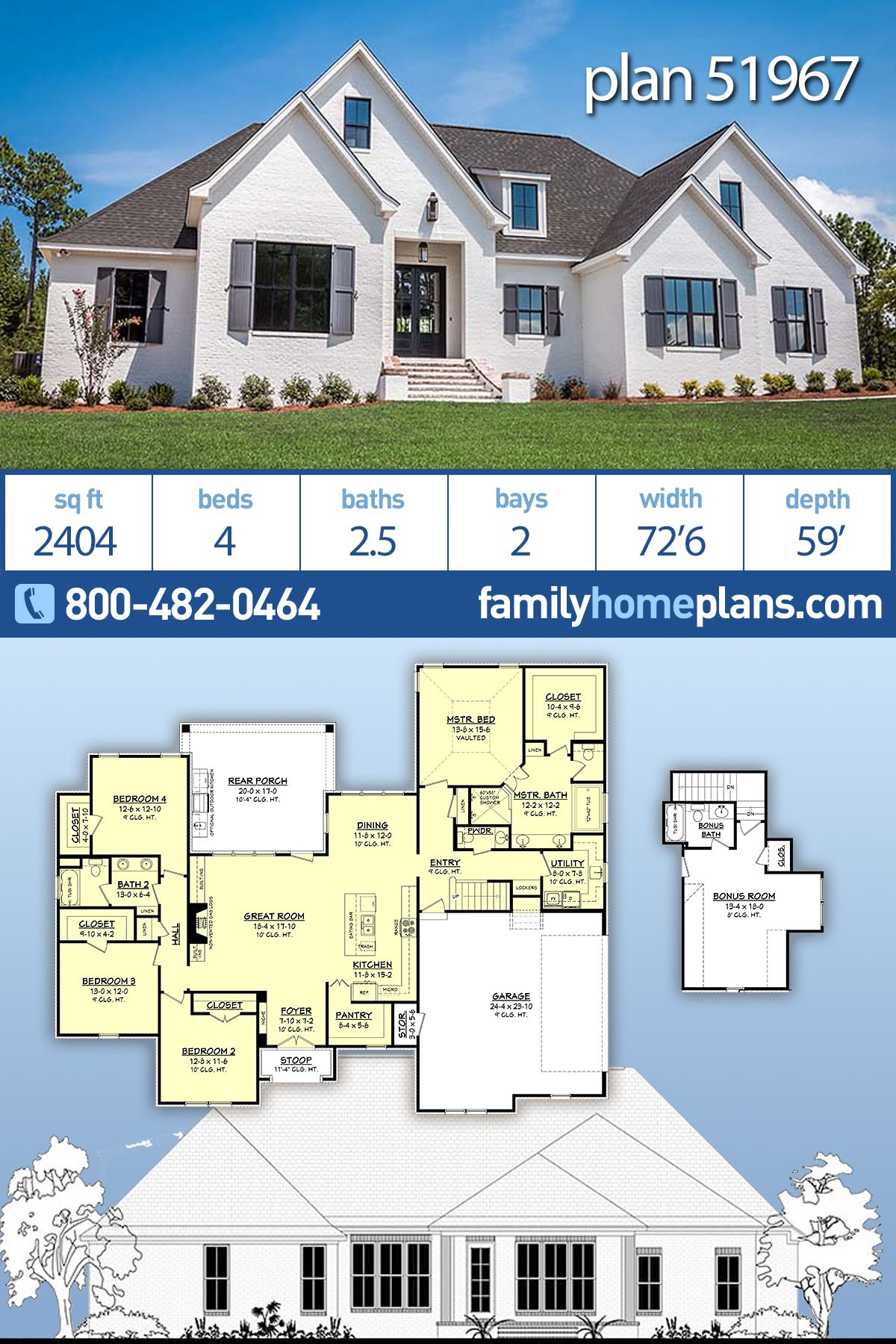 French Country Style House Plan 51967 With 4 Bed 3 Bath 2 Car Garage French Country House Family House Plans Country Style House Plans