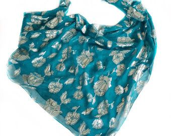 Check Out Teal Blue Silk Scarf Holiday Gift For Jewish Friend Hanukkah Gifts Birthday Mom Chemo Head Scarves Turquoise On
